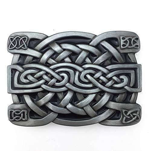 XGALA Fashion Mens Retro Western Cowboy Celtic Knot Metal Belt Buckle Black Enamel
