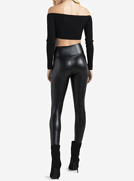 0fc6be5befb Sexy Black Faux High Waisted Leather Leggings Pants Womens Girls Petite Plus  Size Retro at Amazon Women s Clothing store
