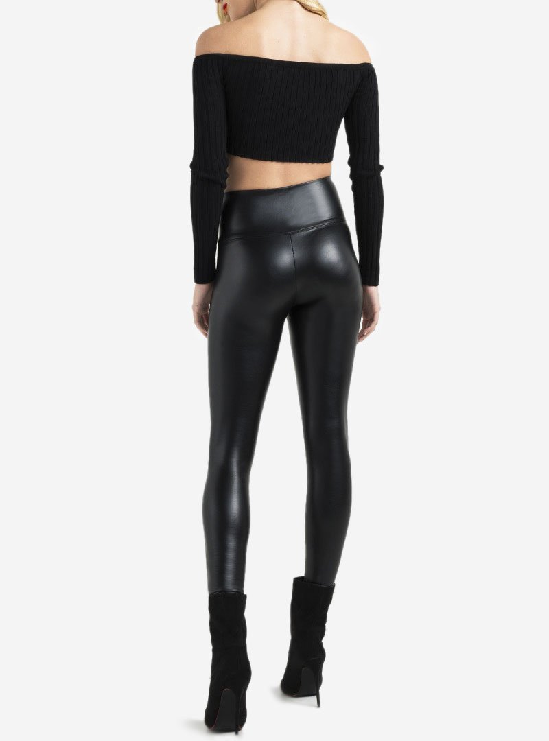 Sexy Black Faux High Waisted Leather Leggings Pants for Womens&Girls Petite/Plus Size by Retro (M-US 8-10 /Waist 28''-30'' Hips37-41'', High Waisted) by Retro Design (Image #3)