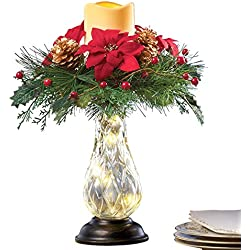 "Holiday Poinsettia and Berry Candle Centerpiece,14"" H"