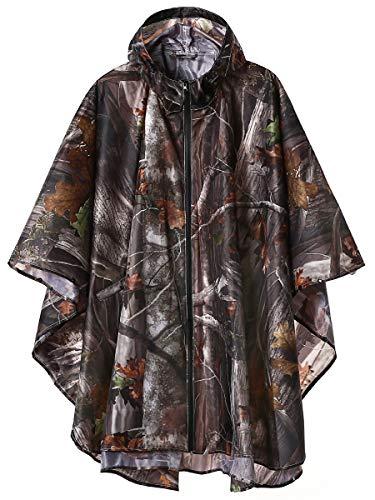 Unisex Stylish Rain Poncho Zipper Up Raincoats with Pockets for Women/Men Camouflage (Womens Camo Rain Coats)