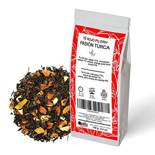 Te Rojo Pasion Turca Blend Con Te Pu Erh (Te Rojo), Canela (7%), Manzana (11%), Naranja (9%) Antioxidante Diuretico 100 gramos