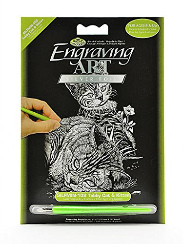 "Bulk Buy: Royal Brush Mini Silver Foil Engraving Art Kit 5""X7"" Tabby Cat & Kitten SILMIN-102 (6-Pack)"