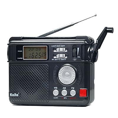 Kaito KA346 Digital 4-way Powered AM/FM NOAA Weather Alert Emergency Radio with Alarm Clock, LED Flashlight, 5V USB Mobile Phone Charger & MP3 Player