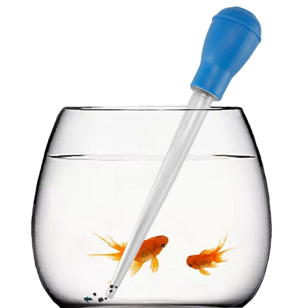 UEETEK Décapant de déchet manuel de haute qualité Pipette compte gouttes Gravel Cleaner pour réservoir de poissons d'aquarium (bleu foncé)