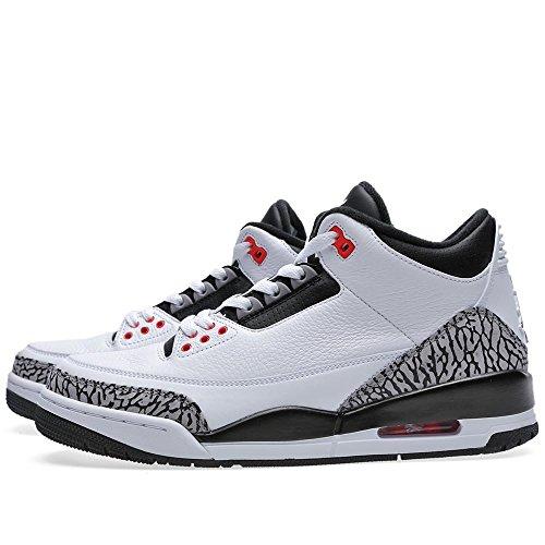 Nike Herren Air Jordan 3 Retro Leder Basketballschuhe Weiß, Schwarz-Cmnt Gry-Infrrd 23