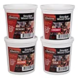 Oak, Cherry, Hickory, and Alder Wood Smoking Chips - Wood Smoker Chips Value Pack- Set of 4 Resealable Pints