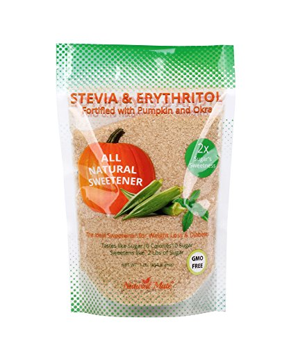 Natural Mate Granular Sweetener, Stevia and Erythritol (Fortified with Pumpkin and Okra), 1 Pound