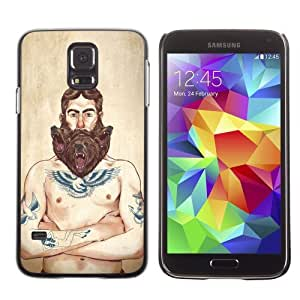 Licase Hard Protective Case Skin Cover for Samsung Galaxy S5 - Hipster Tough Guy