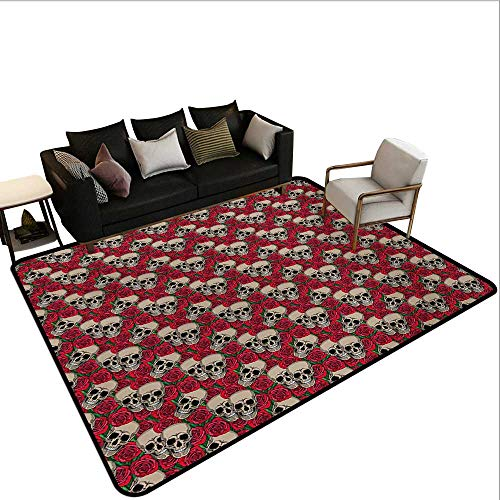 Indoor Floor mat,Graphic Skulls and Red Rose Blossoms Halloween Inspired Retro Gothic Pattern 6'6