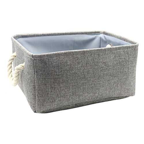 Kernorv 100% Natural Linen Fabric Basket Storage Bins for Shelves with Rope Handles, Multi-sized Gray Square Organizer Basket for Nursery, Closet, Toys, Laundry, Bathroom, Office, Car