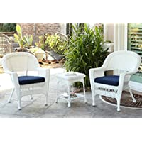 Jeco W00206_2-CES011 3 Piece Wicker Chair and End Table Set with Blue Cushion, White