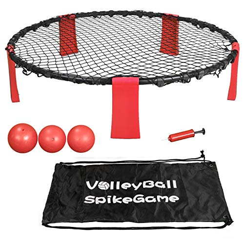 Smartxchoices Red Ball Spike Battle Game, Volleyball Toss Ball Game Set for Backyard, Party, Beach, Outdoor Lawn, Tailgates - Playing Net, 3 Balls, Drawstring Bag and Manual Included by Smartxchoices