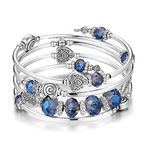 - Pearl&Club Bead Crystal Wrap Bangle Bracelet - Fashion Jewelry Beaded Bracelet with Silver Metal, Gifts for Women (Transparent Blue)