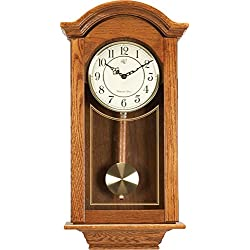 River City Clocks Chiming  Regulator Wall Clock with Swinging Pendulum and Oak Finish - 24 Inches Tall - Model # 6023O