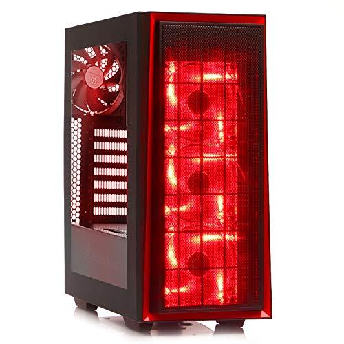 Caja de ordenador pc rojo, red