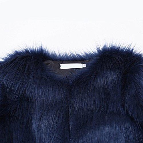 Coat Veste Fur Per Fausse Blouson Hiver Longue Femme Fourrure Manteau Bleu Manche Femme Fourrure Fourrure wxOZqa