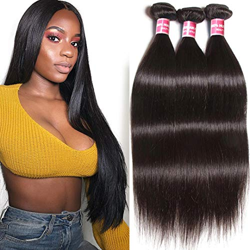 BuLaDou 10A Brazilian Straight Hair Weave Bundles 8 10 12inch Sew in Hair Extensions 100% Unprocessed Remy Human Hair Weft Pack of 3 Natural Color (10 Inch And 12 Inch Sew In)