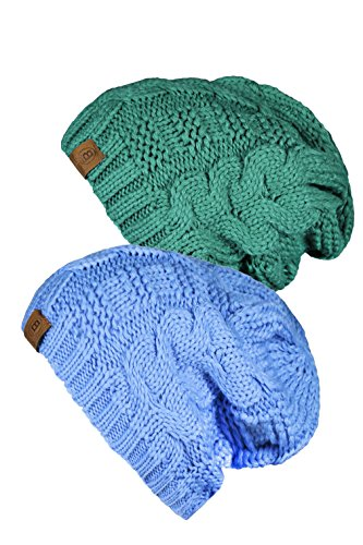 Basico Unisex Warm Chunky Soft Stretch Cable Knit Beanie Cap Hat (2pk Baby Blue/Light Teal 102)