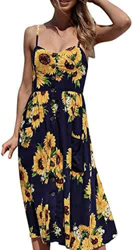788578ad43 Women's Dresses-Summer Floral Bohemian Spaghetti Strap Button Down Swing  Midi Dress with Pockets
