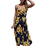 Womens Floral Sundress,Tigivemen Printing V Neck Buttons Off Shoulder Sleeveless Summer Bohemian Slim Long Party Dress
