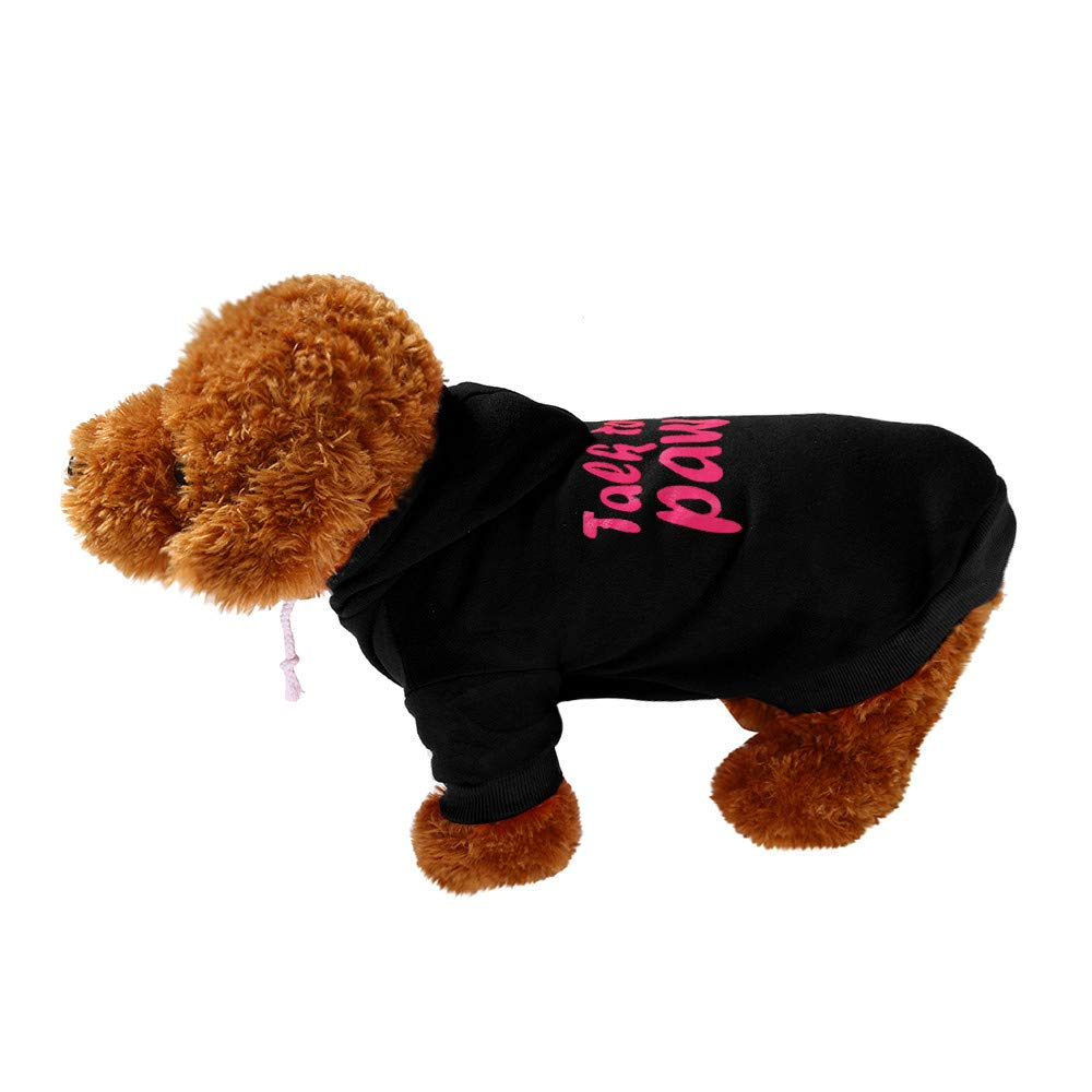 Pet Clothes Dog Pet Clothes Hoodie Warm Sweatshirts Puppy Coat Apparel Letter Print Costume Small Dogs Pet Clothes Vest T Shirt For Small Medium Dog Cat Puppy Rabbit Pig Warm Dog Outfits (Black, XS) by succeedtop (Image #2)