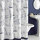 Oversized Shower Curtain DS BATH Aviation Nautical Shower Curtains,Mildew Resistant Fabric Shower Curtain,Navy Shower Curtains for Bathroom,Print Bathroom Curtains,Waterproof Decorative Bath Curtains,72