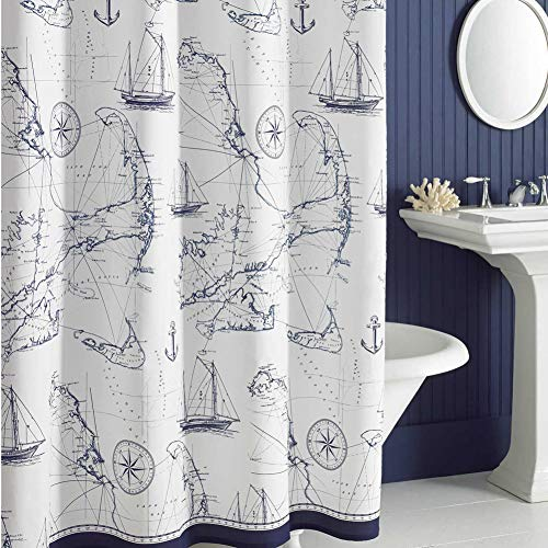 DS BATH Aviation Nautical Shower Curtains,Mildew Resistant Fabric Shower Curtain,Navy Shower Curtains for Bathroom,Print Bathroom Curtains,Waterproof Decorative Bath Curtains,72