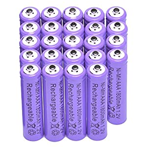 Rechargeable Battery 24x AAA 1800mAh 1.2 V Ni-MH Purple for MP3 RC Toys Camera