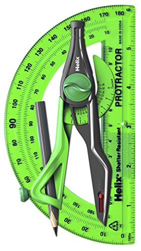 Helix Universal Locking Compass and Protractor, 2 Piece Set, Assorted Colors, Color May Vary (18803)