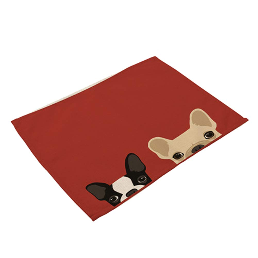 Wnakeli Placemat Table Mat Dining Desk Heat Resistant Cartoon Dog Cup Mat Table Place Mats for Dining Table Home Restaurant 1Pcs
