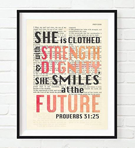She is Clothed with Strength and Dignity, Proverbs 31:25, Christian Unframed Reproduction Art Print, Vintage Bible Verse Scripture Wall and Home Decor Poster, Inspirational Gift, 8x10 inches