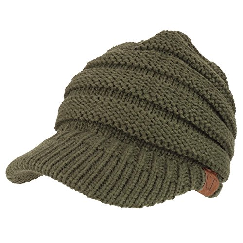 Beanie Visor Olive (Trendy Apparel Shop Women's Ribbed Knit Winter Ponytail Visor Beanie Cap - Olive)