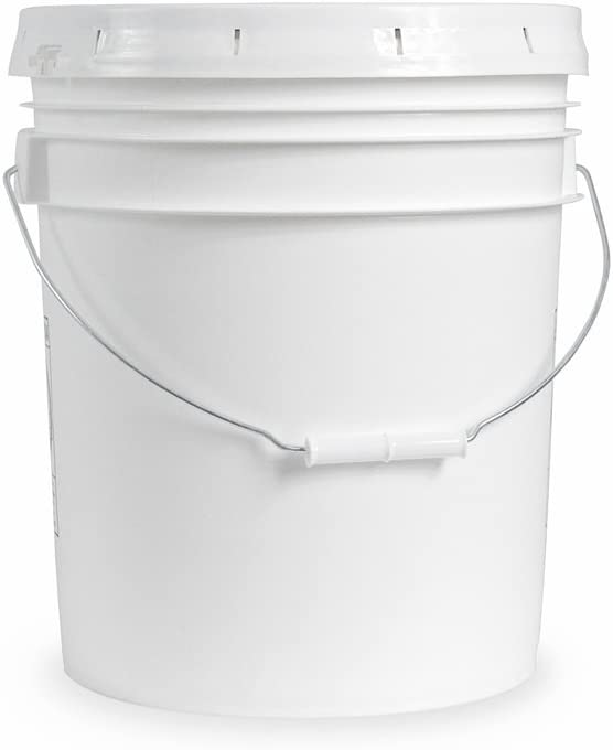Ropak USA 5 Gallon Food Grade White Plastic Bucket with Handle & Lid - Set of 3