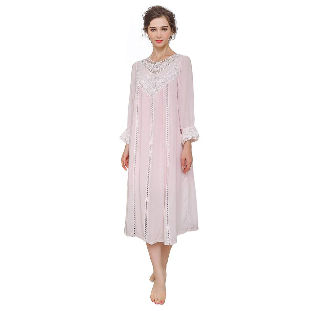 OKSakady Da Donna Principessa Pizzo Vittoriano Camicia da Notte Manica Lunga Puro Biancheria da Notte Pigiama Abito da Salotto