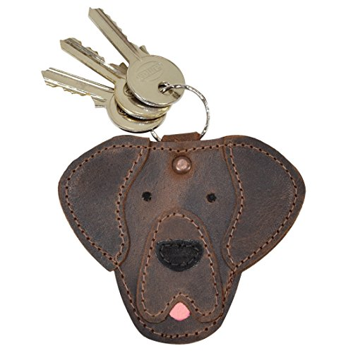 Leather Dog Key Ring - Critter Keychain Labrador Dog Key Ring Fob Charm Rustic Leather Pet Animal Key Holder Charm Pendant Handmade by Hide & Drink :: Bourbon Brown