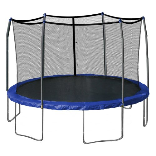 Skywalker Trampolines 15-Foot Round Trampoline and Enclosure with Spring Pad, Blue (Bouncepro By Sportspower 15 Trampoline Weight Limit)
