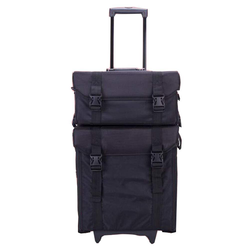BUMC 1に付き2化粧トロリーケース、プロのローリング化粧品美容バッグトラベルトレインポータブルオーガナイザー多機能ボックスにホイール,Black B07Q7PRB2T Black