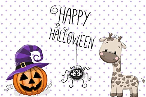 Leyiyi 9x6ft Cartoon Happy Halloween Backdrop Trick or Treat Banner Cute Giraff Toy Pumpkin Lanterns Spoted Board Witch Photography Background Scary Carnival Night Photo Studio Prop Vinyl Wallpaper ()