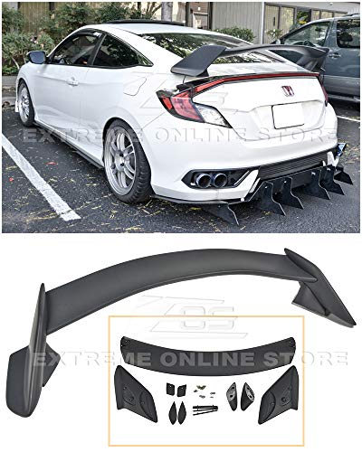 Extreme Online Store Replacement for 2016-Present Honda Civic Coupe FC3 FC4 | EOS JDM Type-R Style ABS Plastic Primer Black Rear Trunk Lid Wing Spoiler
