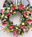 Easter Parade Pink Spring Flowers and Egg Silk Floral Wreath for Front Door Interior Summer Decor Includes Wreath Hanger
