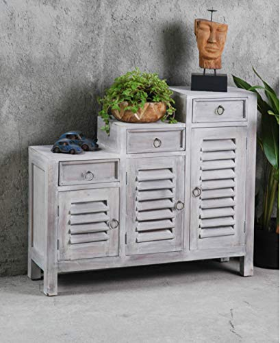 Sunset Trading CC-CAB1181LD-SW Shabby Chic Cottage Shutter Cabinet, Stonewall ()