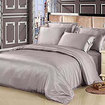LILYSILK 4Pcs Gray Silk Sheets King Bedding Flat Sheet Fitted Sheet Oxford  Pillowcases Set 19 Momme