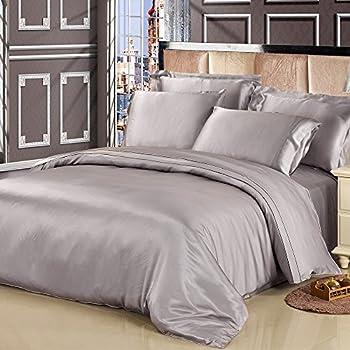 LILYSILK 4Pcs Gray Silk Sheets Bedding Flat Sheet Fitted Sheet Oxford Pillowcases Set 19 Momme Pure Silk Silvergray King