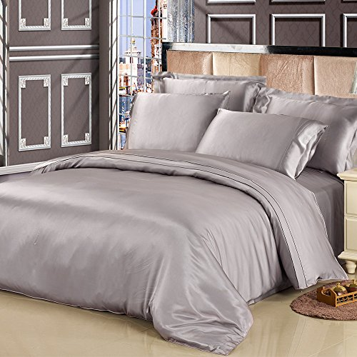 LilySilk 1002-06-USCK 19 Momme Silk Duvet/Quilt/Comforter Cover, California King (110