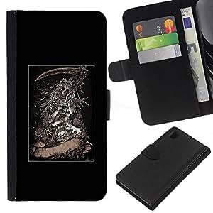 Be-Star la tarjeta de Crédito Slots PU Funda de cuero Monedero caso cubierta de piel Para Sony Xperia Z1 L39 ( Grim Reaper Poster Metal Death Skull )