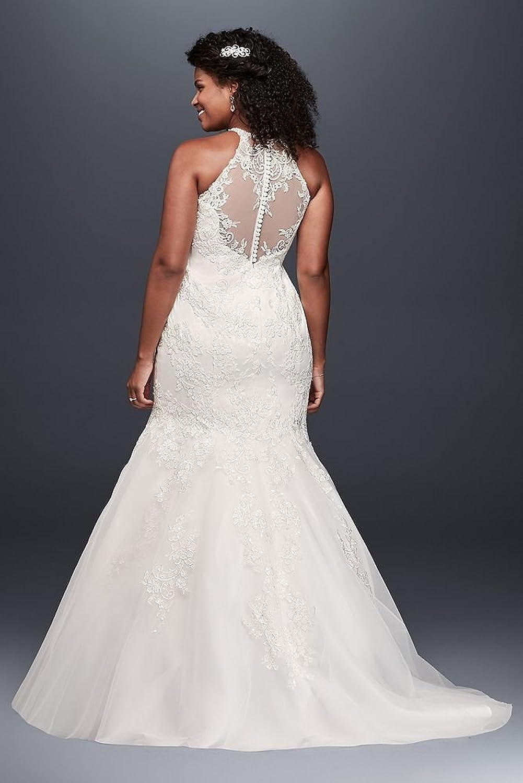 Jewel Illusion Halter Lace Plus Size Wedding Dress Style
