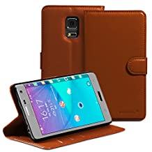 Fosmon® Galaxy Note Edge CADDY-DÉMODÉ Leather Multipurpose Wallet Case for Samsung Galaxy Note Edge (Brown)