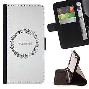 BullDog Case - FOR/Samsung Galaxy Core Prime / - / wreath Christmas snow white x-mas holiday /- Monedero de cuero de la PU Llevar cubierta de la caja con el ID Credit Card Slots Flip funda de cuer