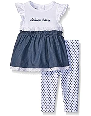 Baby Girls' White with Dark Blue Chambray Tunic and Leggings